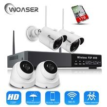 WOASER 960 P NVR 720 P IP Cámara de Vigilancia Inalámbrica Kit P2P 1.0MP HD IR Al Aire Libre Cámara de Visión Nocturna de Seguridad CCTV WIFI sistema