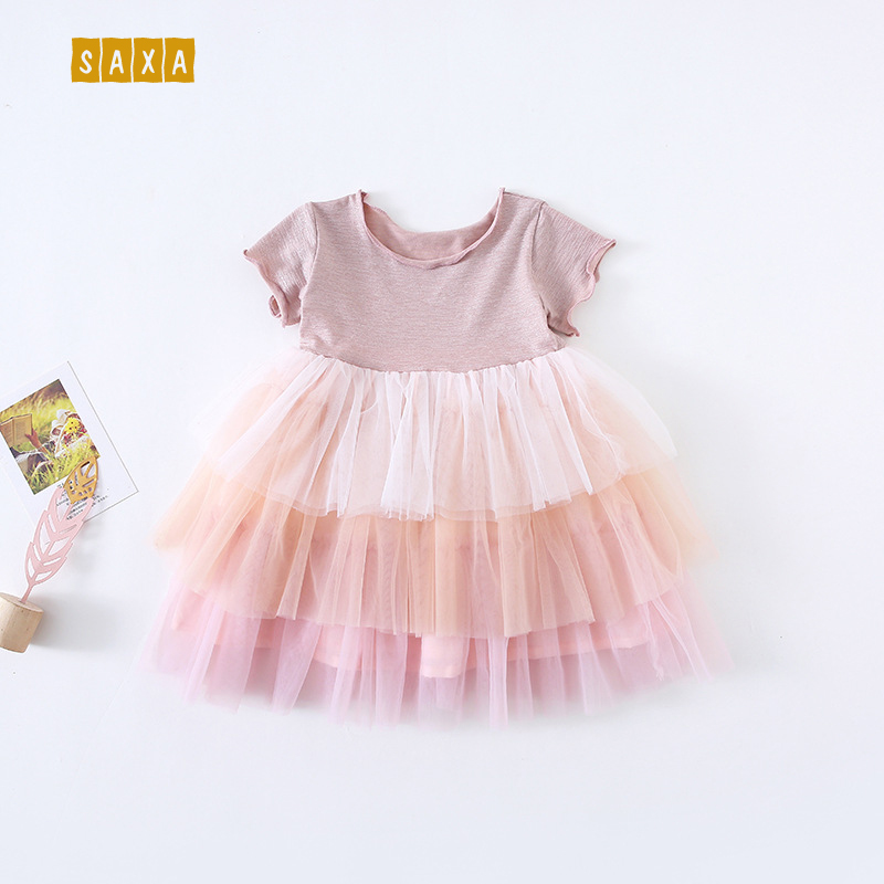 Children Princess-Dress Girls Baby Summer Gradient Color Mesh Fiber Polyethylene New