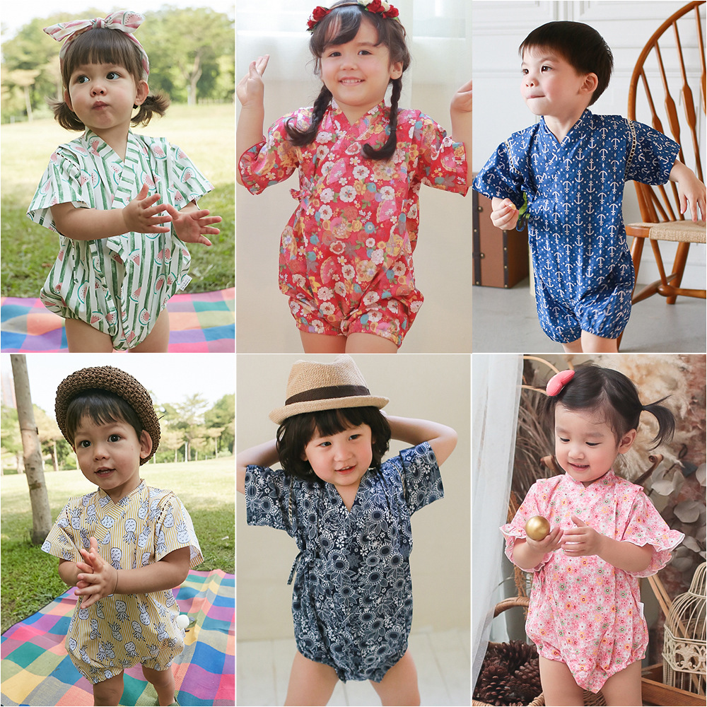 2018 Kimono baby clothes japanese style kids clothes girls   romper   retro bathrobe uniform clothes infants pajamas floral Costume