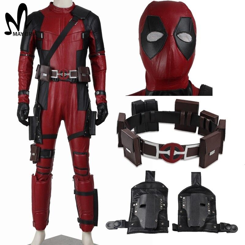 Deadpool costume Halloween superhero Red Leather Deadpool Jumpsuit Deadpool cosplay costume adult custom made Deadpool outfit