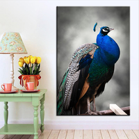 Large Size Printing Oil Painting Peacock Bird Blue Wall Painting POP Art Wall Art Picture For