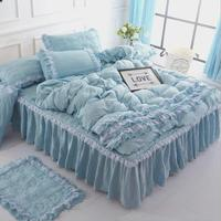 Home Textile high quality Series Bed washing cotton 4pcs Bedding Sets Bed Set Duvet Cover Bed skirt pillowcase 4pcs Set with lac