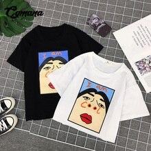 CGmana female T-shirt 2018 harajuku kawaii cartoon printed t-shirt chic loose bf short-sleeved funny t-shirt summer casual tops