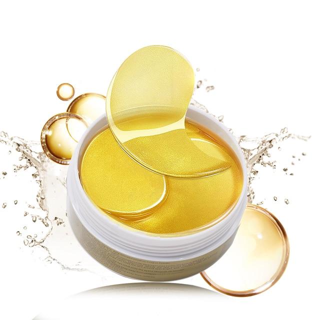 24K Gold Eye Masks 60pcs Collagen Eye Mask Ageless Sleep Mask Hydrogel Eye Patches Pads Dark Circles Moisturizing Face Mask Care 1