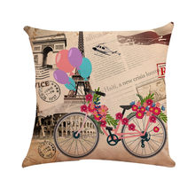 45X45CM Bicycle Balloon Pattern Printed Cushion Cover Decorative Pillow Cases for Sofa Car Linen PillowCase Home Decor 8D19(China)