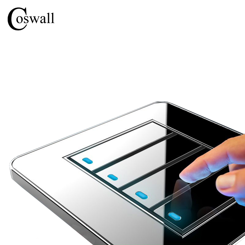 Coswall Brand New Arrival 4 Gang 1 Way Random Click Push Button Wall Light Switch With LED Indicator Acrylic Crystal Panel livolo remote switch with crystal glass panel wall light remote touch led indicator 3gang 1 way vl c503r 11 12 without remote
