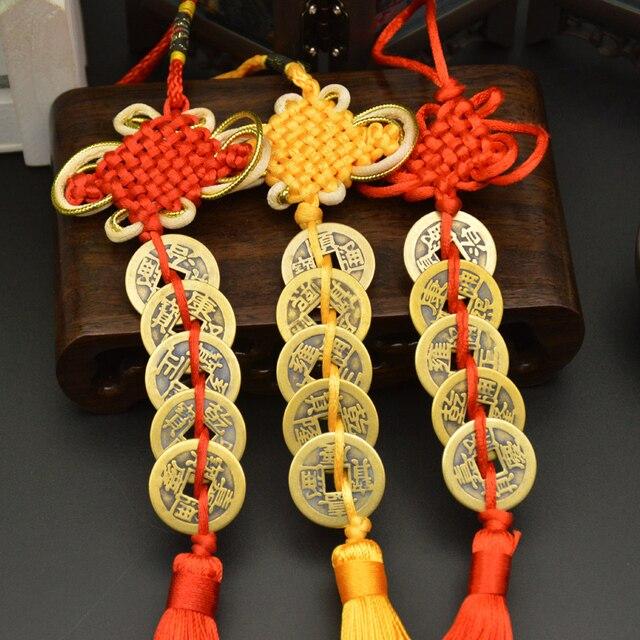 Chiński ręczny węzeł Fengshui talizmany starożytne I CHING miedziane monety maskotka dobrobyt ochrona szczęście dekoracja do domu samochodu