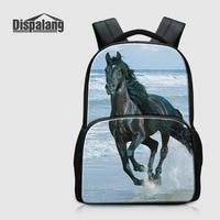 Dispalang Women Men Felt Large Backbag 3D Animal Horse Printing School Bagpack For Students School Laptop