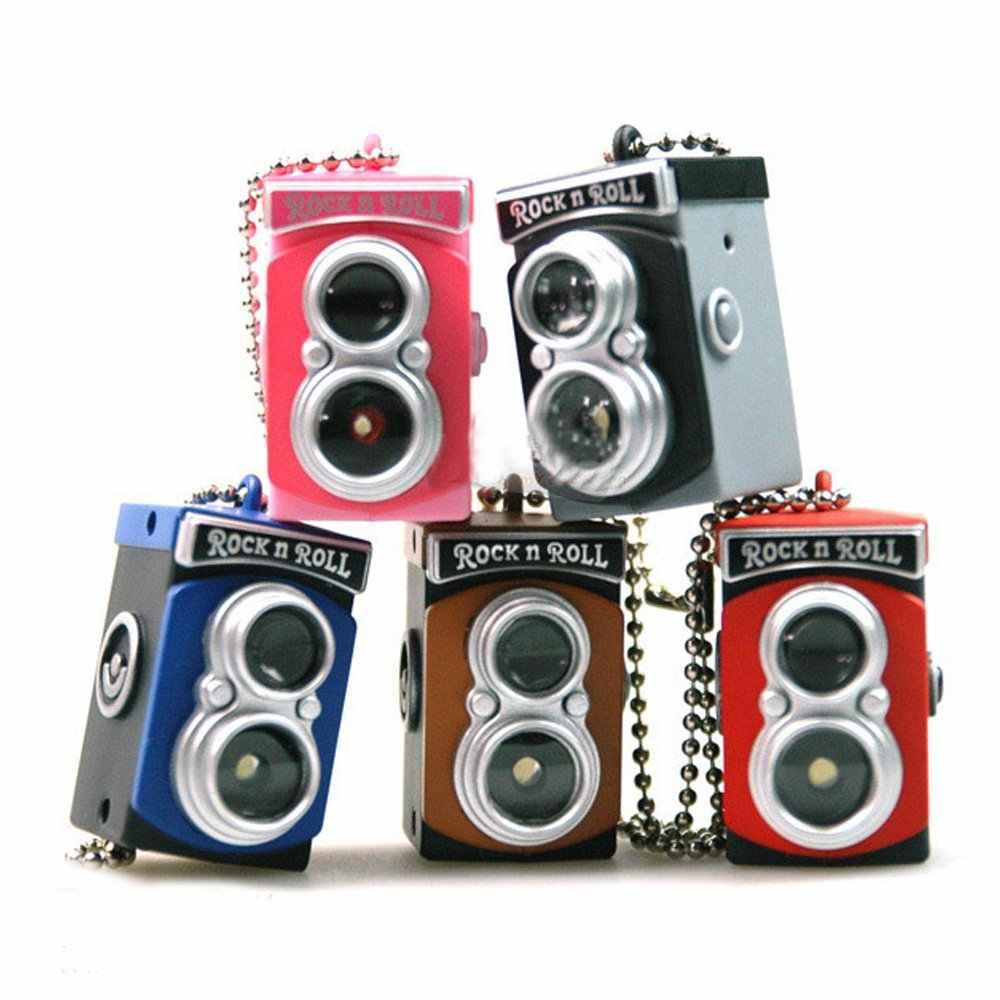 Toyl Warna Acak Cute Mini Double Twin Lens Reflex TLR Kamera LED Flash Light Torch Suara Shutter Gantungan Kunci