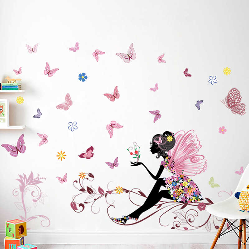 Beautiful Girl Butterfly Flower Wall Stickers For Home Decor Personality Mural Child Room Nursery De