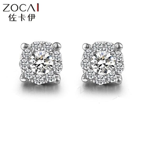 Zocai Trendy Natral Brinco 0 3 Ct Certified Diamond Earrings Jewelry Earring Ear Studs Round Cut 18k