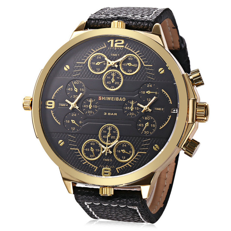Mens 57 MM Big Face Watches 4 Time Zone work Leather Band Casual Japan Quartz Movement Wrist Watch Luxury Timepiece