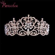 Женская свадебная тиара с кристаллами розового золота и серебра