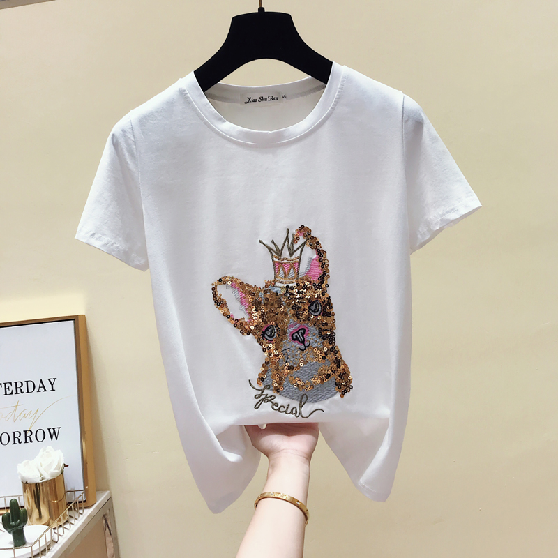 Fashion Sequin Tee Shirt Female Tops Creative O neck T Shirt Cotton Cartoon Women Tshirts 2019 Summer Casual Femme Black White in T Shirts from Women 39 s Clothing
