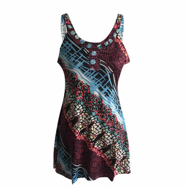 Летнее женское платье, сексуальное, цветное, с принтом, на бретельках, без рукавов, повседневное, мини, плюс размер, платье, модное, новое, сексуальное платье, Сарафан 5