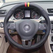 Черный кожаный чехол рулевого колеса автомобиля для volkswagen