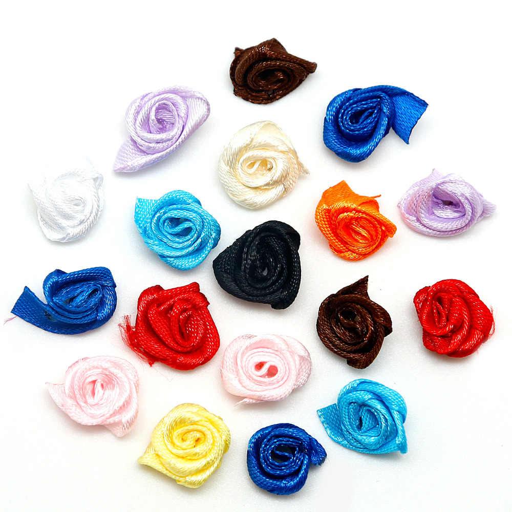 50 Pcs/lot Wholesale DIY Materail Buatan Tangan 1.5 Cm Pita Satin Mawar Buatan Kepala Bunga untuk Pengantin Pernikahan Dekorasi