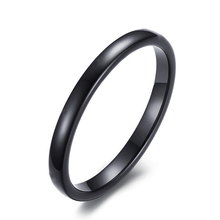 Fshion 1PC Smooth Simple Silvery Golden Black Color Titanium Steel For Women Men Wedding Jewelry Ring Couples Rings Gifts
