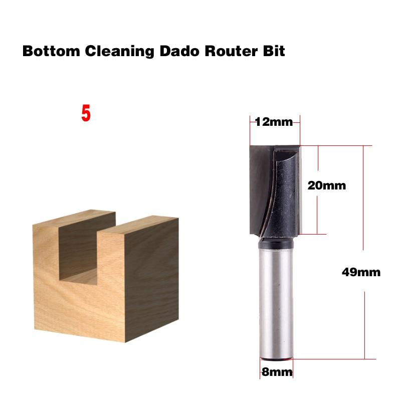 Купить с кэшбэком 1PC 8mm Shank high quality Bottom Cleaning Straight/Dado Router Bit Set 5,6,8,10,12,16,18mm Diameter Wood Cutting Tool - Chwjw