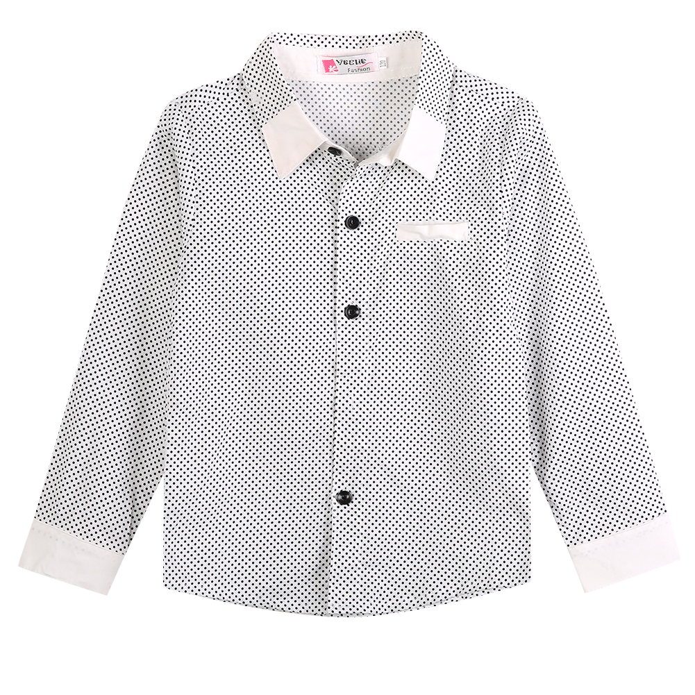 Fashion Cool Kids Boys Formal Shirt Casual Long Sleeved Polka Dot Cotton Shirt 3-8Years White Black