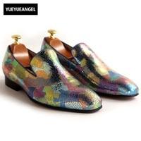 Дизайн Разноцветные обувь из натуральной кожи Для мужчин принт Лоферы без застежки модные Повседневная выходная обувь Удобные Мокасины Дл