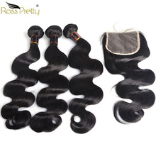 Ross Pretty Remy Brazilian Body Wave Bundles With Closure Pre Plucked Baby Hair Lace Closure Human Hair Bundles With Closure ross pretty remy hair kim k closure 2 6 brazilian straight hair lace closure human hair pre plucked with baby hair