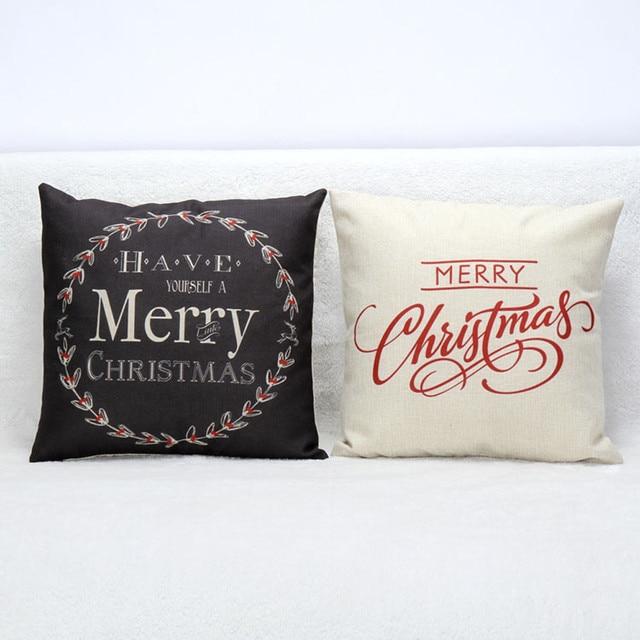 2 Kolory Christmas List Poszewka na Poduszkę Poszewka na poduszkę Poszewka Sofa Home Decoration Festiwal Biały I BlackMerry Boże Narodzenie
