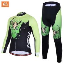 VEOBIKE Brand Pro Team Sportswear Men's Long Sleeve Cycling Jersey Set Sports Shirt Bike Wear Cycling Clothing Ciclismo Clothing