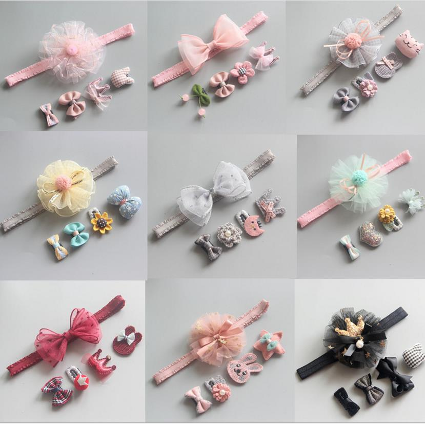 New Kids Newborn Lace Floral Headband Headwrap Girls Mini Bowknot BB Hairpins Headwear Toddlers Hair Accessories 0-12month TZ49
