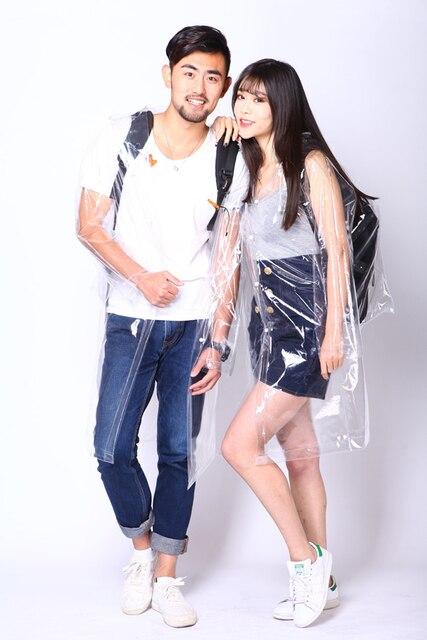 Freesmily Super Transparent Backpack Style Rain Poncho Fashion EVA Waterproof Rain Jacket Coat Reusable With Drawstring Hood