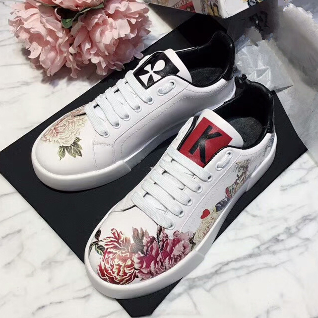 Floral Graffiti Woman Sneakers Fashion Tennis Shoes Genuine Leather Plus Size Peony Flower Colorful Girl's Leather Flats Shoes