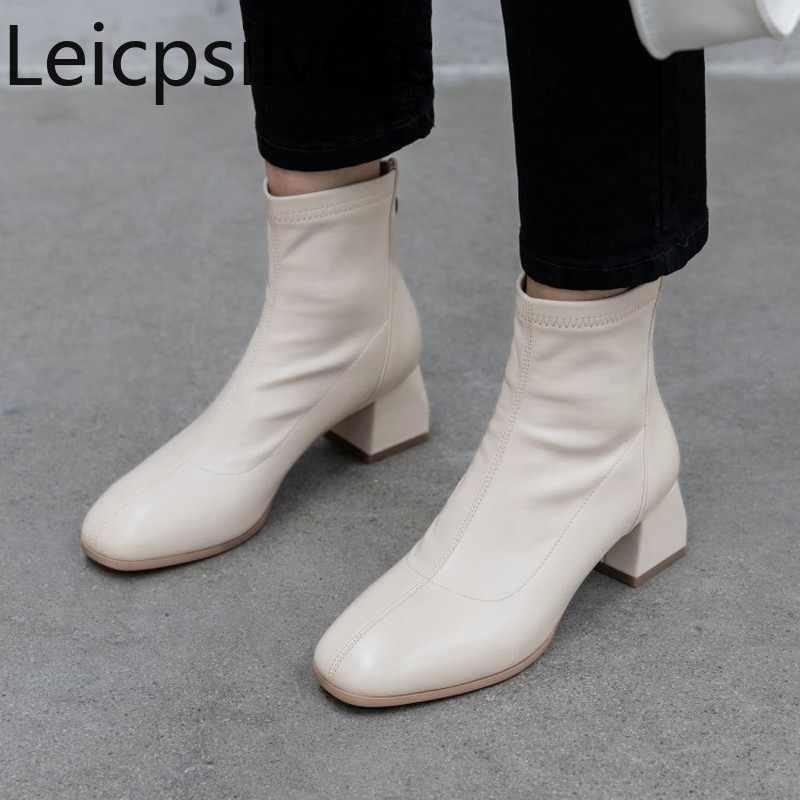 รองเท้าสตรีฤดูใบไม้ร่วงและฤดูหนาวใหม่แฟชั่นสแควร์หัวซิปหนากลางสั้นสตรีรองเท้า plus ขนาด 31-43
