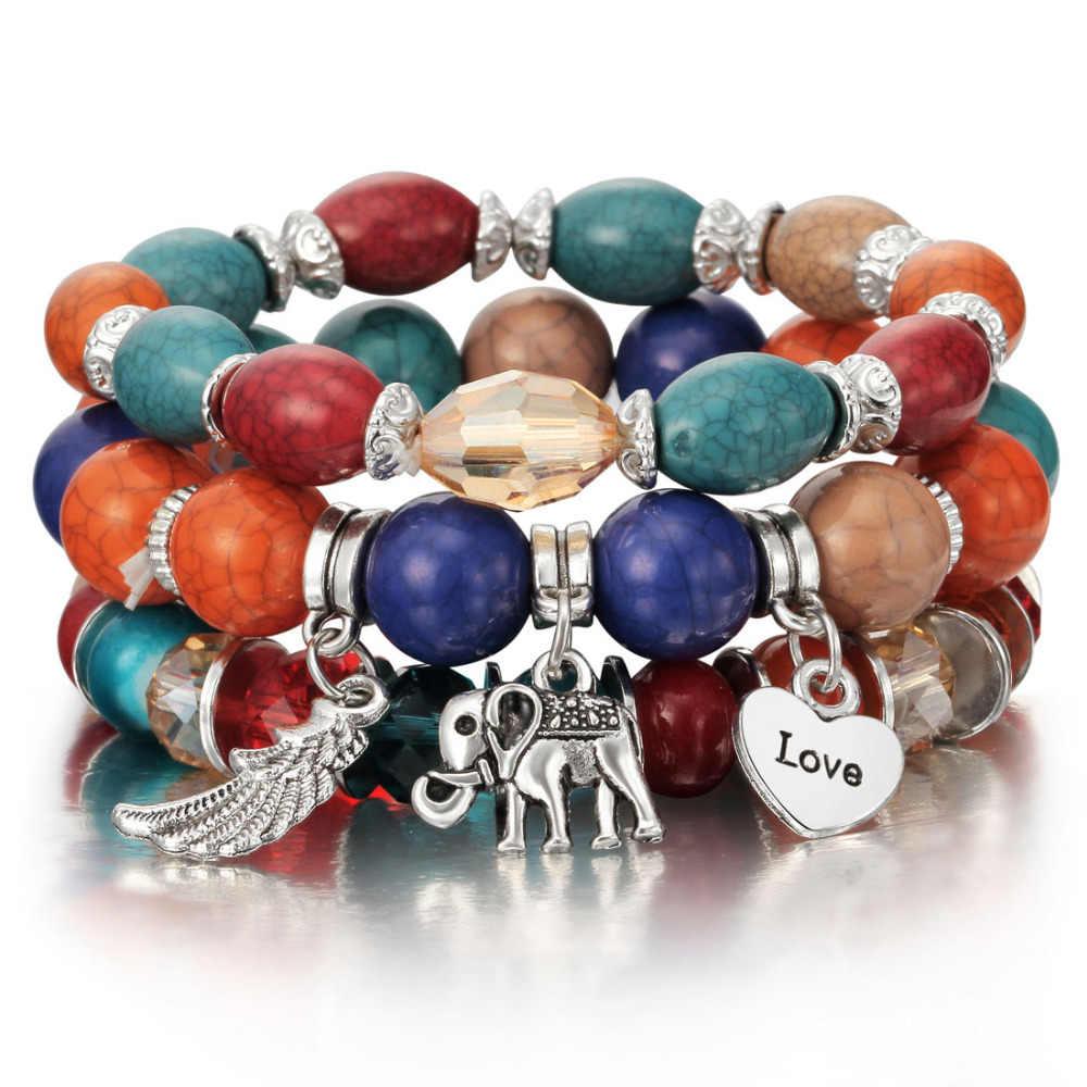 3-4 sztuk/zestaw moda bransoletki boho i Bangles torebka damska bransoletka z paciorkami zestaw z kolorowy klejnot długi Wrap bransoletka dla kobiet