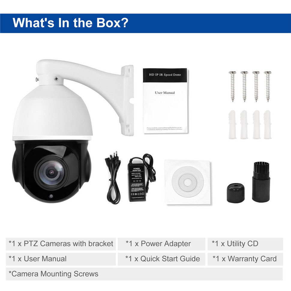 POE PTZ IP Camera 5MP Super HD 2592x1944 Pan/Tilt 30x Zoom Speed Dome Cameras H.264/H265 Compatible With Onvif 48V POE NVR Kits