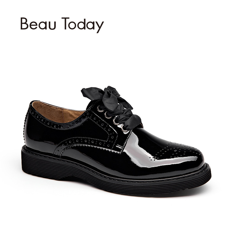 BeauToday Derby Shoes Women Brogue Style Genuine Cow Leather Lace-Up Round Toe Ladies Flats Get 3 Kinds of Shoelaces 21083 33 45 size women genuine leather oxford shoes fashion round toe lace up flat ladies england style brogue oxfords for women d005