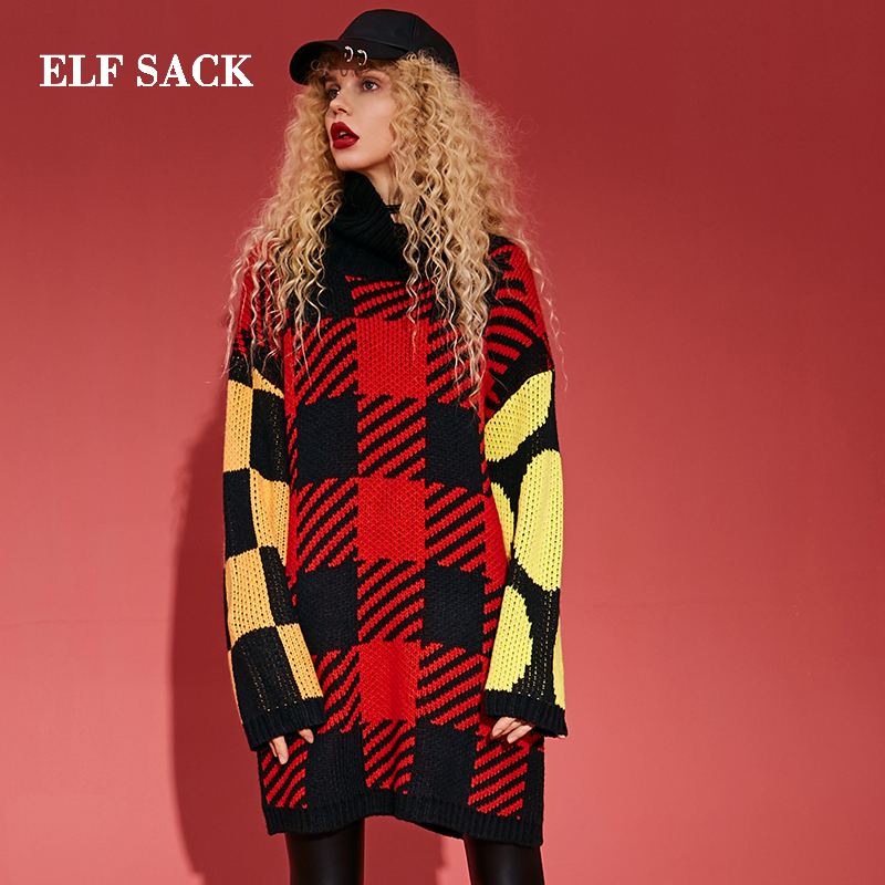 ELF SACK Winter New Woman Sweater Casual O Neck Full Women Pullover Plaid Full Hand Knitted