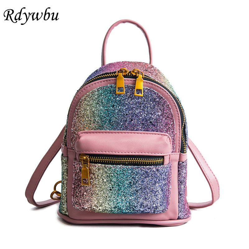 Rdywbu Colorful Glitter Sequins Backpack Girls New Fashion Multifunction PU Leather Rucksack Students Ombre School Mochilas B210 2pcs set pu leather backpack women girls fashion glitter sequins school bag cartoon label purse rucksack daily backpack