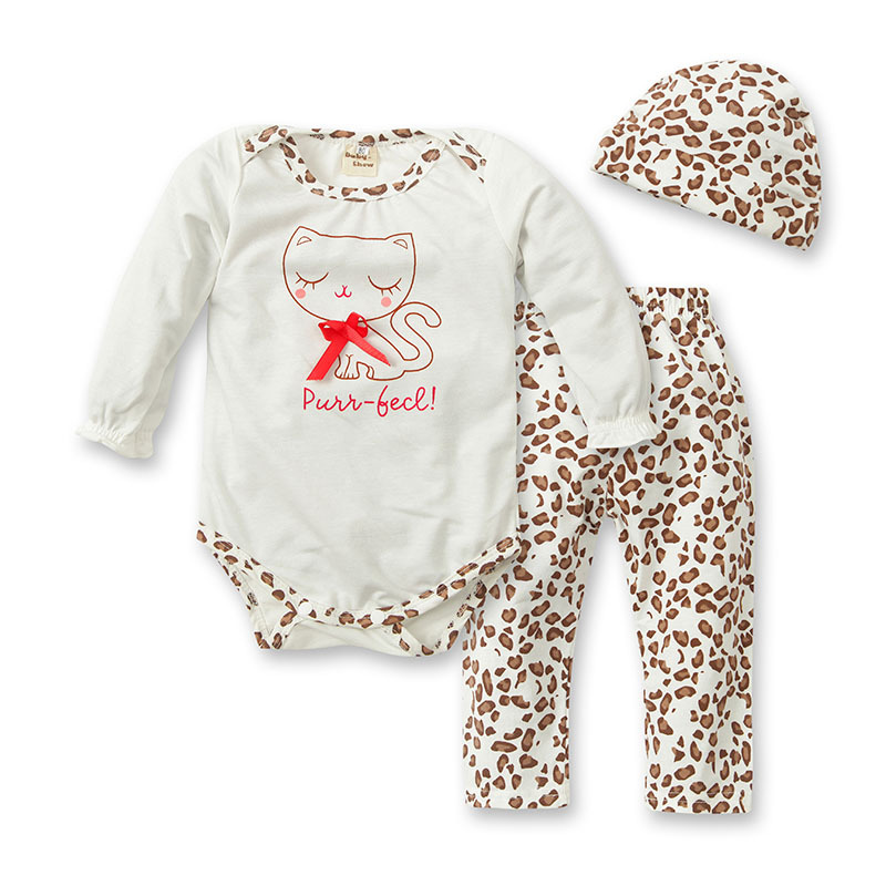 hot sale new fashion baby boy or girls leopard romper + pants + hat kids clothing set free shipping