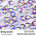 SS3-SS30 Dark Siam AB Nail Art Rhinestones With Round Flatback For Nails Art Cell Phone And Wedding Decorations