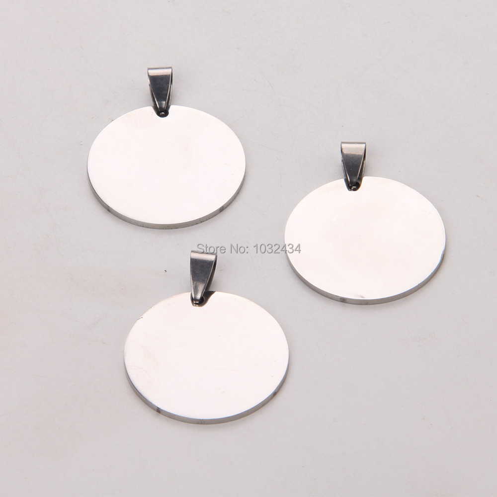 300pcs lot Customize Engrave Polished Stainless Steel Charm Pendant Round Dog tag Stamping Blanks Jewelry Pendant