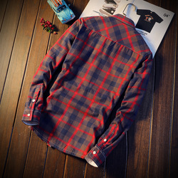 2018 Shirt Men Plaid Flannel Shirts Mens Casual Autumn Winter Spring Thick Warm Fleece Cotton Long Sleeve Shirt Camisa Masculina 2