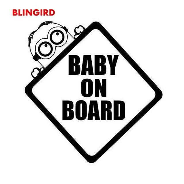 Blingird 11cm11cm Minions Baby On Board Funny Cartoon Decal Car