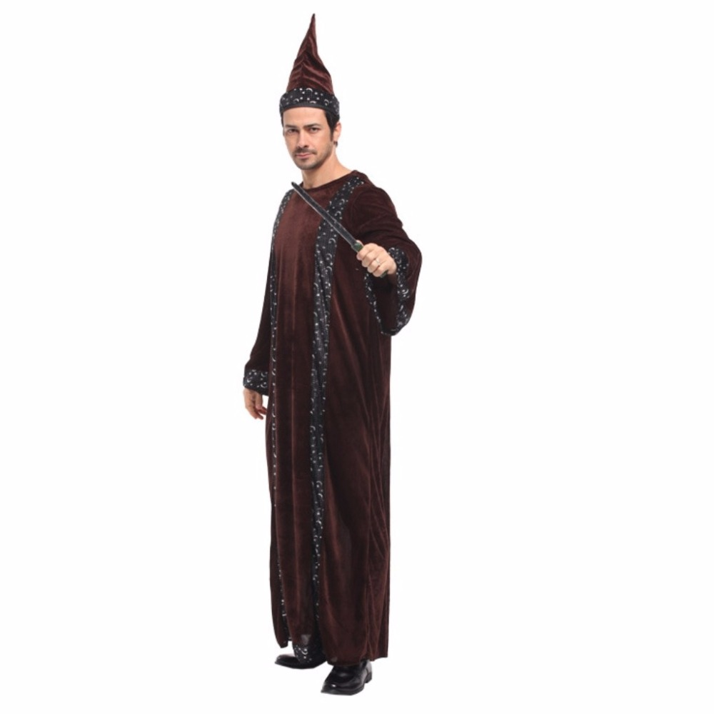 Shanghai Story Men Religious Godfather Robe Magician Costume Adult Priest Outfit Dark Sorcerer Robe Halloween Cosplay Costume