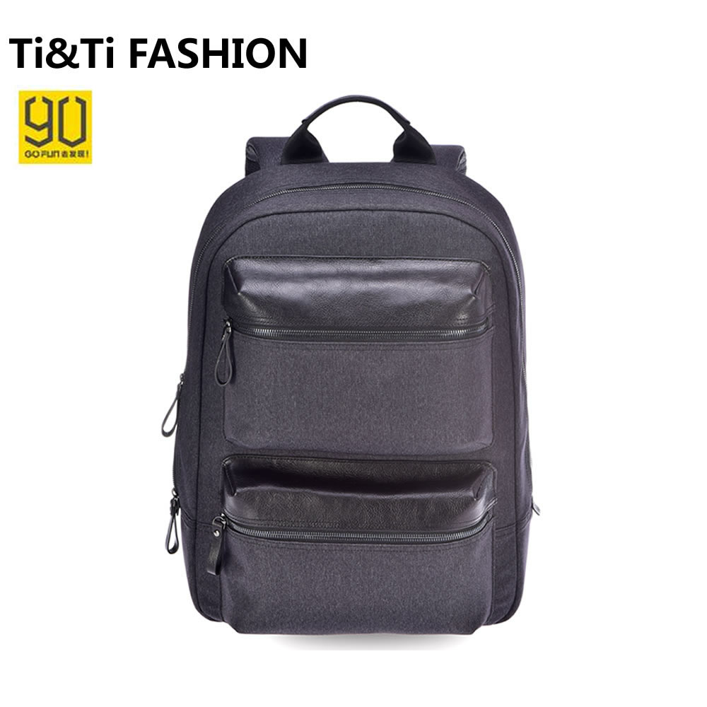 ФОТО Xiaomi 90 Points Men Backpack Oxford Cloth PU Leather 14 Inches Casual Travel Laptop Rucksack Fashion Business School Bag