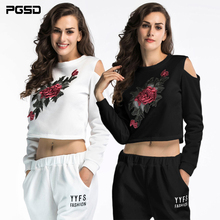 PGSD Fashion Women Clothes Short Furry Thickened Flower Embroidered Long Sleeve strapless Hooded Sweatshirt female Pullovers
