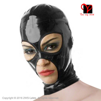 Sexy Classic Black Latex Hood Zipper Back Headgear Natural Rubber Open Mouth Eyes Nose Holes Unisex