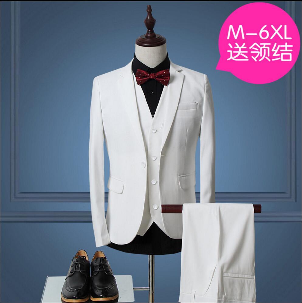jacket+pants+vest) spring singer men suit personality casual slim ...