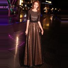 It's YiiYa Evening Dress 2019 Bling Black Gold O-neck Zipper Floor-length Fashion A-line Evening Gowns TR025  robe de soiree
