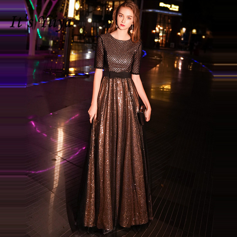 It's YiiYa   Evening     Dress   2019 Bling Black Gold O-neck Zipper Floor-length Fashion A-line   Evening   Gowns TR025 robe de soiree