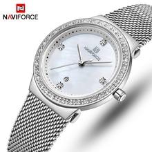 NAVIFORCE Horloge Vrouwen Rvs Quartz Horloges Lady Top Merk Luxe Mode Klok Eenvoudige Polshorloge Relogio Feminino